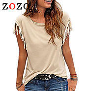 Women Cotton Tassel Casual Blouses Sleeveless Solid Color Shirts Top Short Sleeve