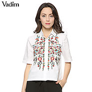 Embroidery shirts cotton white vintage totem retro short sleeve casual blouse ladies tops & blouses