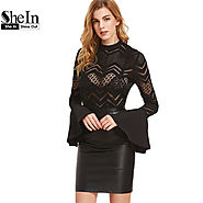 Womens Tops and Blouses Sexy Women Clothes Black Button Back Flare Chevron Blouse