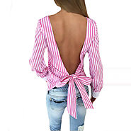 Women Sexy Bowknot Backless Striped Blouses Shirts Long Sleeve O neck Blouse Women