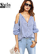 Ladies Casual Blouses For Autumn Blue Striped V Neck Cold Shoulder Long Sleeve Blouse