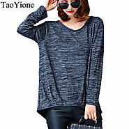 Cotton Knitting Women Blouse V-Neck Long Sleeve Large Size Top Ladies Clothing Shirt