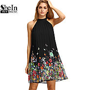Summer Black Round Neck Sleeveless Womens Casual Clothing Floral Print Cut Away