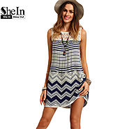 Women Striped Multicolor Sleeveless Print Lace Yoke Shift Loose Tank Boho Sexy Dress