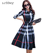 Women's Elegant Cotton A-line Knee Length Women Long Sleeve Plaid Long Shirt Dresses