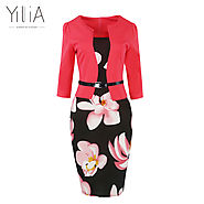 Floral Print Elegant Business Party Formal Office Plus Size Bodycon Pencil Casual Dress