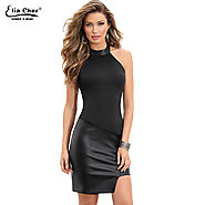 Sexy Club Bodycon O Neck Sleeveless Tank PU Leather Dress Black Party Evening Elegant Dress