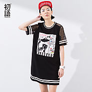 Women Dress Street-Style Print Stripe Patchwork Hollow Out Short Sleeve