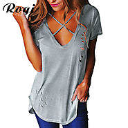 T-Shirt Women Front Cross V Neck Ripped T Shirts Bandage Loose Basic Tee Tops