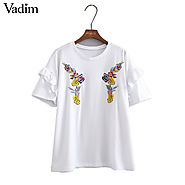 Women flower embroidery ruffles loose white T shirt short sleeve