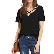 Summer Fashion Bandage Sexy V Neck Criss Cross Top Casual Lady Female T-shirt