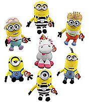 Ty Despicable Me 3 Set of 7! Fluffy, Mel, Carl, Tom, Tim, Dave and Jerry!