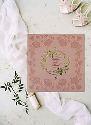Peach Floral Themed Wedding Invitations | D-1787 | 123WeddingCards