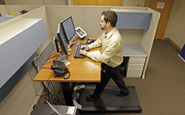 Treadmill desks get workers moving