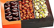 Gourmet Food Nuts Chocolate Gift Basket, 3 Different Delicious Nuts! Kosher, Vegan, Vegetarian Friendly Gift Tray. Pe...