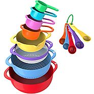 Vremi 13 Piece Mixing Bowl Set With Handle - With Nesting Colorful Measuring Cups Spoons Colander Mesh Strainer - BPA...