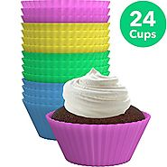 Vremi Silicone Muffin Liners 24 Pack - Colorful BPA Free Nonstick Reusable Baking Cups Cupcake Liners in Pink Yellow ...
