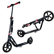 Hudora 230 Big Wheel Kick Scooter for Teen Adult - 230MM & 205MM Wheel, 17.7-Inch x 5.5-Inch Deck, Fold Down, Adj...