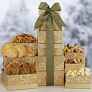Holiday Gourmet Gold Gift Tower | Christmas Themed Gourmet Food and Treats