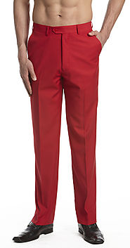 Men's Pants - Red - Flat Front Slacks