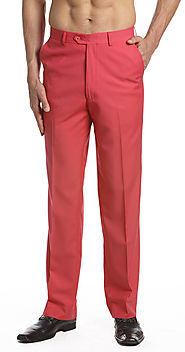 Men's Pants - Coral Pink - Flat Front Slacks