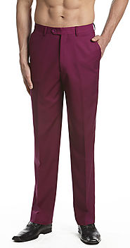 Men's Pants - Burgundy - Flat Front Slacks