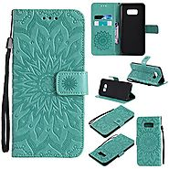 S8 Plus Case,Samsung Galaxy S8 Plus Cover,SMYTU Premium Emboss Sunflower Flip Wallet Shell PU Leather Magnetic Cover ...