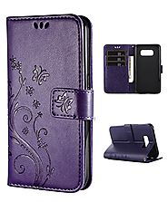 Samsung S8 Case,Galaxy S8 Wallet Case, FLYEE Flip Case Wallet Leather [kickstand] Emboss Butterfly Flower Folio Magne...