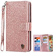Galaxy S8 Case, Samsung Galaxy S8 Case, BENTOBEN Galaxy S8 Wallet Case Glitter Faux Leather Flip Credit Card Holder W...