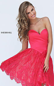 Red Sweetheart Neck Sherri Hill 50845 Lace Short A-Line Prom Dresses 2017 Strapless Satin Bodice