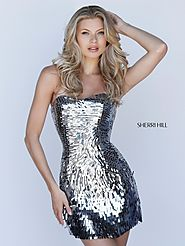 2017 Strapless Sequined Pattern Gunmetal Sweetheart Neck Sherri Hill 51547 Short Slim Prom Dresses Outlet