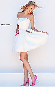Discount Sherri Hill 50220 Pockets Straight Neck Floral Embellished Ivory/Pink Sort Satin Prom Dresses