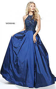 Sherri Hill 51242 Sleeveless Beaded Bodice Navy 2017 Halter Neck A-Line Long Taffeta Prom Dresses