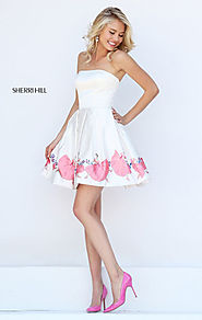 Straight Neck Ivory/Pink Cheap A-Line Satin Homecoming Dresses Sherri Hill 50327 Strapless Print