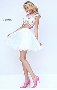Ivory/Pink 2 Piece Sherri Hill 50478 Floral Embellishment Cheap Lace Scalloped Homecoming Gowns