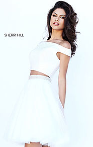 Sherri Hill 50497 Beaded Bodice Cap Sleeves High Neck Cheap Ivory Two Piece Tulle Pleated Short Cocktail Dresses