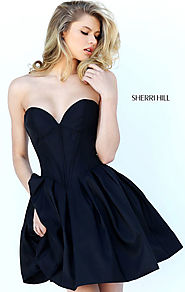 Sweetheart Neck Discount Strapless Black A-Line Pleated Short Taffeta Prom Dresses Sherri Hill 50501