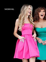 2017 Sherri Hill 51390 Fuchsia Strapless Satin Beaded Pockets Short A-Line Prom Dresses