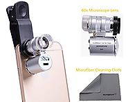 WONBSDOM Univsersal 60X Zoom LED Clip-On Microscope Lens+Microfiber Cleaning Cloth for iPhone 4S 5 5S 5C 6 itouch iPa...