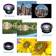 VicTsing 3 in 1 Clip-on 180 Degree Fisheye Lens Plus Wide Angle Lens Plus Macro Lens iPhone Camera Lens Kits for iPho...