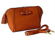 Small Tan Cross Body Shoulder Bag with Long Shoulder Strap