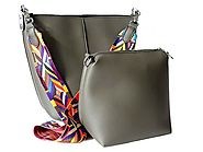 Designer Style Grey Shoulder Handbag for Womens
