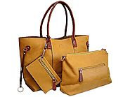 4 Piece Mustard Yellow Tote Handbag with internal Bags