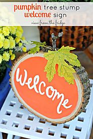 Pumpkin Tree Stump Welcome Sign - View From The Fridge