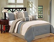 JBFF Bed in Bag Microfiber Luxury Comforter Set, King, Blue Gray, 7 Piece