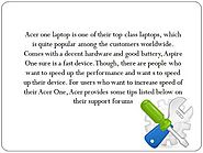 What are the steps to speed up performance of Acer Aspire One