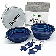 "Bonza Large Collapsible Dog Bowls, Twin Pak, 5 Cup, 7"" Diameter, Portable Dog Water Bowls for Medium to Large Pets, L..."