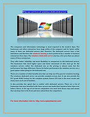 Why use services of Windows dedicated server?