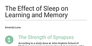 The Effect of Sleep on Learning and Memory