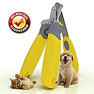 Trim-Pet Dog Nail Clippers ~ Professional Vet Quality ~ Razor Sharp Stainless Steel Blades With Safety Guard ~ Ergono...